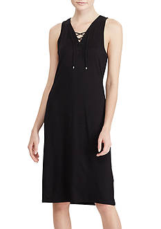 Lauren Ralph Lauren Lace-Up French Terry Dress