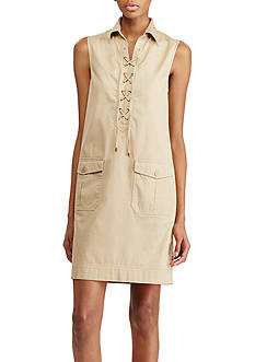 Lauren Ralph Lauren Lace-Up Cotton Shift Dress