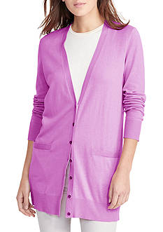 Lauren Ralph Lauren Stretch Cotton V-Neck Cardigan