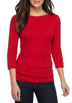 Lauren Ralph Lauren Lace-Up Boatneck Top