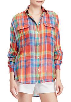 Lauren Ralph Lauren Plaid Crinkled Cotton Shirt