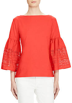 Lauren Ralph Lauren Laser-Cut Cotton-Blend Shirt