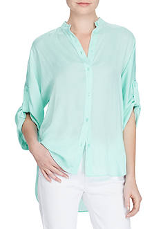 Lauren Ralph Lauren Crepe de Chine Button-Up Shirt
