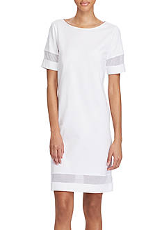 Lauren Ralph Lauren Mesh-Insert Short-Sleeve Dress