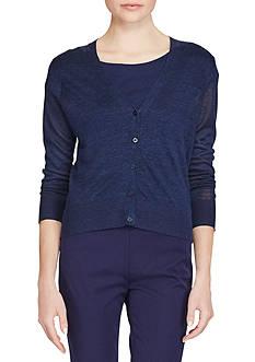 Lauren Ralph Lauren Eyelet-Back Linen Cardigan