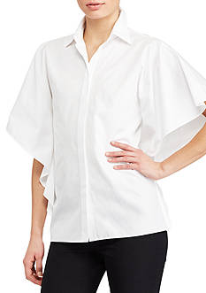 Lauren Ralph Lauren Flutter-Sleeve Cotton Shirt