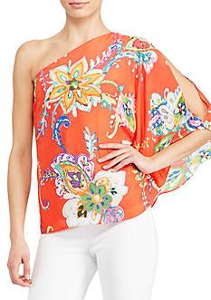 Lauren Ralph Lauren Floral Crepe One-Shoulder Top