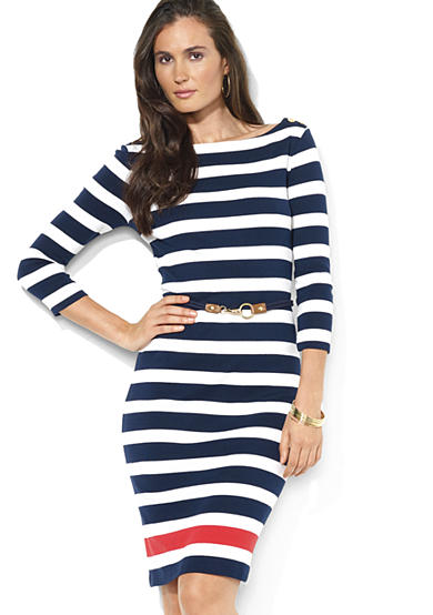 Lauren Ralph Lauren Petite Striped Boatneck Dress