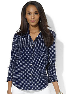 Lauren Ralph Lauren Petite Three-Quarter-Sleeved Polka-Dot Dress Shirt