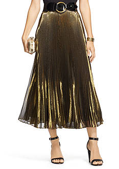 Lauren Ralph Lauren Petite Metallic Pleated Skirt