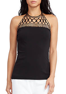 Lauren Ralph Lauren Petite Crocheted-Yoke Halter Top