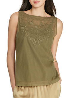 Lauren Ralph Lauren Petite Size Embroidered Tulle Top