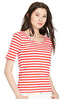 Lauren Ralph Lauren Petite Striped Stretch Cotton Tee