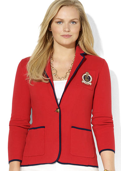 Lauren Ralph Lauren Plus Size Combed Cotton Trimmed Blazer