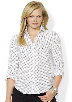 Lauren Ralph Lauren Plus Size Polka-Dot Cotton Shirt