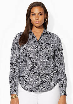 Lauren Ralph Lauren Plus Size Wrinkle-Free Paisley Dress Shirt