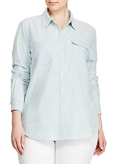 Lauren Ralph Lauren Plus Size 2-Pocket Chambray Shirt