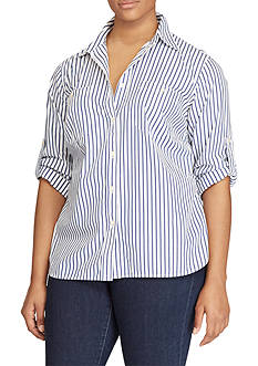 Lauren Ralph Lauren Plus Size Striped Roll-Tab Shirt