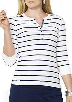 Lauren Ralph Lauren Plus Size Striped Pocket Henley