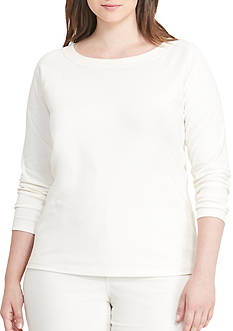 Lauren Ralph Lauren Stretch Cotton Ballet-Neck Top