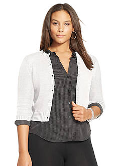 Lauren Ralph Lauren Plus Size Cropped Cotton Cardigan