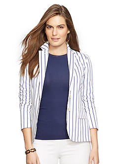 Lauren Ralph Lauren Plus Size Striped Cotton-Silk Jacket