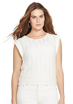 Lauren Ralph Lauren Plus Size Crocheted Cap-Sleeve Sweater