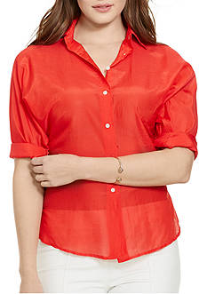 Lauren Ralph Lauren Plus Size Cotton-Silk Voile Shirt