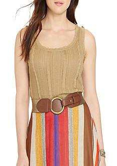 Lauren Ralph Lauren Plus Size Cable-Knit Cotton-Blend Tank