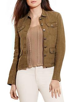 Lauren Ralph Lauren Plus Size Herringbone Linen Jacket