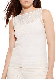 Lauren Ralph Lauren Plus Size Sleeveless Cotton Mesh Top