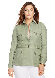 Lauren Ralph Lauren Plus Size Herringbone Linen-Blend Jacket