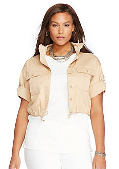 Lauren Ralph Lauren Plus Size Twill Short-Sleeve Jacket