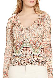 Lauren Ralph Lauren Plus Size Paisley-Print V-Neck Sweater