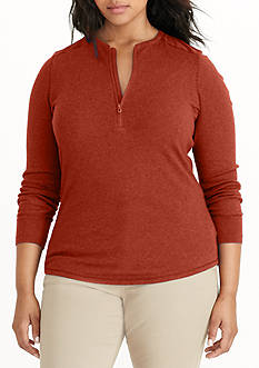 Lauren Ralph Lauren Plus Size Cotton Half-Zip Shirt