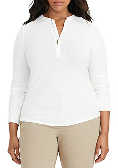 Lauren Ralph Lauren Plus Size Knit Half-Zip Top