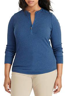 Lauren Ralph Lauren Plus Size Cotton Half-Zip Top