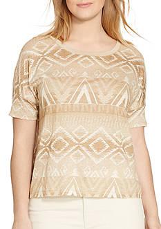 Lauren Ralph Lauren Plus Size Patterned Linen Jersey Tee
