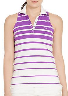 Lauren Ralph Lauren Plus Size Striped Sleeveless Polo Shirt