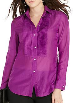 Lauren Ralph Lauren Plus Size Pintucked Cotton-Silk Shirt