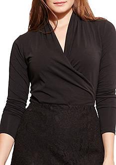 Lauren Ralph Lauren Plus Size Faux-Wrap Jersey Top