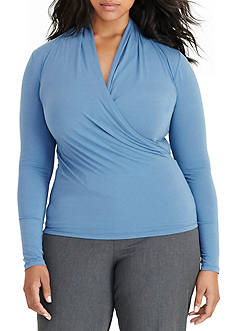 Lauren Ralph Lauren Plus Size Jersey Surplice Top