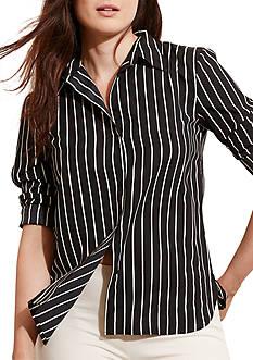 Lauren Ralph Lauren Plus Size Striped Crepe Shirt