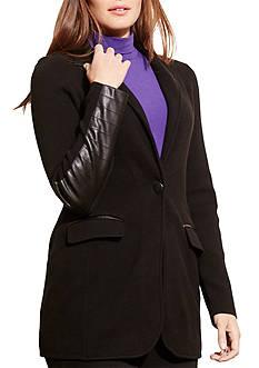Lauren Ralph Lauren Plus Size Knit Cotton-Blend Jacket