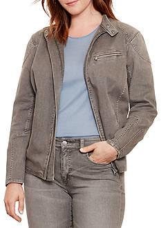 Lauren Ralph Lauren Plus Size Stretch Denim Moto Jacket