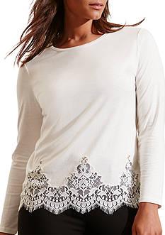 Lauren Ralph Lauren Plus Size Lace-Hem Jersey Tee