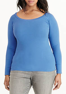 Lauren by Ralph Lauren Plus Size Stretch Cotton Long-Sleeve Tee