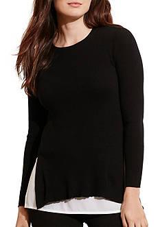 Lauren Ralph Lauren Plus Size Layered Cotton Sweater