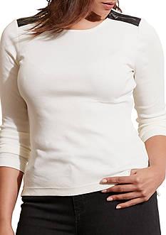 Lauren Ralph Lauren Cotton Zip-Shoulder Top