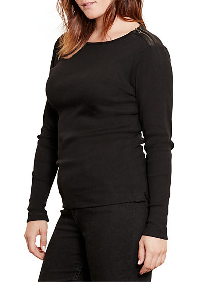 Lauren Ralph Lauren Plus Size Cotton Zip-Shoulder Top